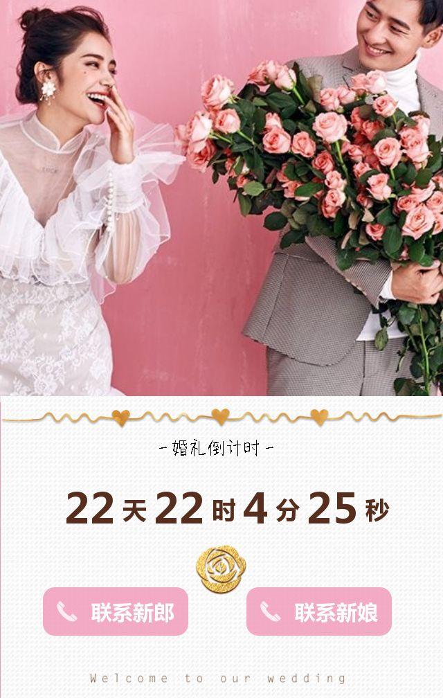 轻奢粉色快闪时尚婚礼邀请函浪漫韩式简约结婚请柬H5