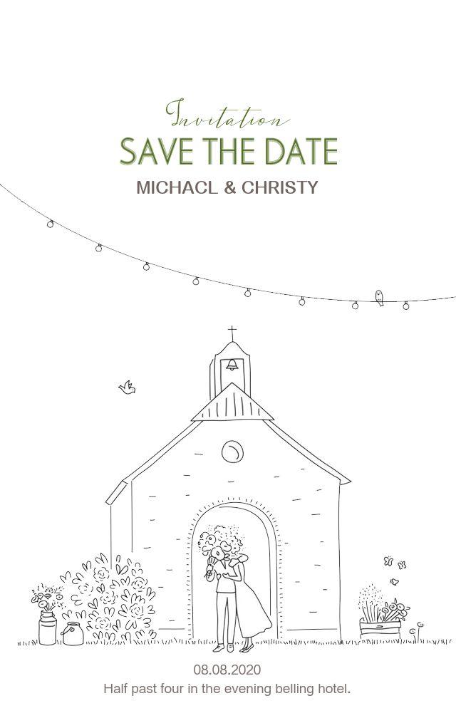 简约手绘黑白线条漫画可爱韩式婚礼请柬邀请函