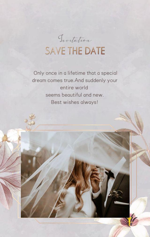 高级灰手绘花朵素材金色线条现代婚礼请柬邀请函