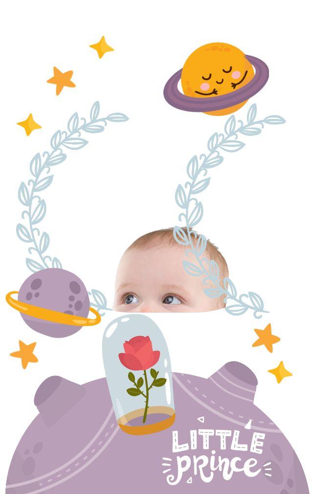天空色《小王子》主题宝宝生日、周岁、百日宴邀请函H5