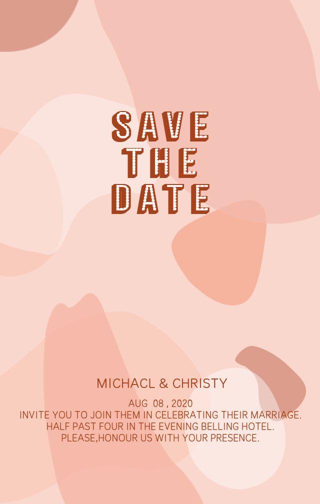 粉色艺术色块叠加抽象美式风格现代时尚婚礼请柬邀请函