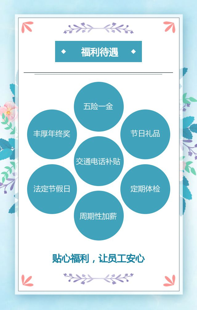 小清新水彩蓝色人才招聘企业公司招聘宣传H5
