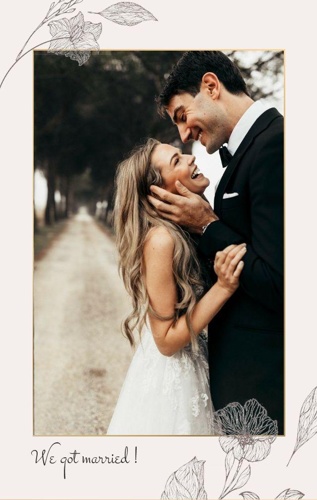 灰调手绘花朵线条金色框极简复古婚礼请柬邀请函