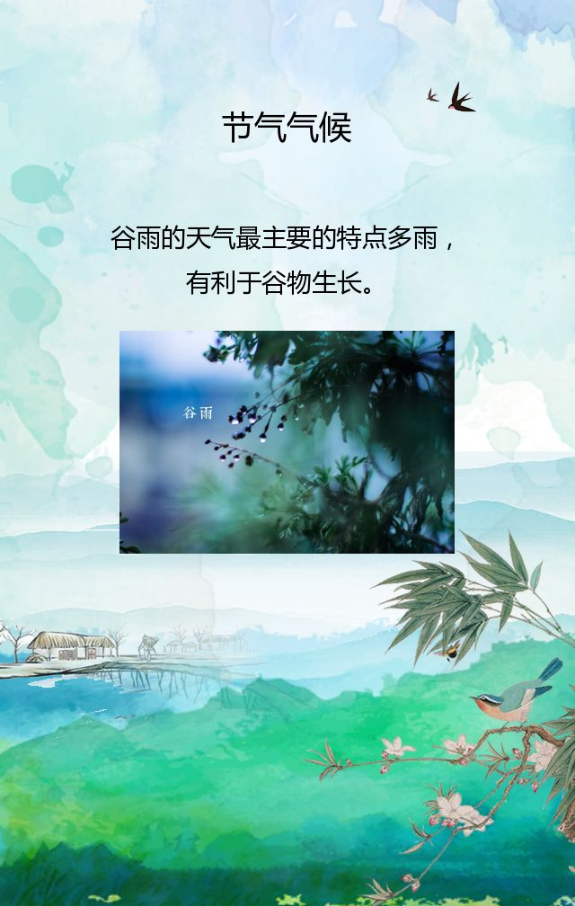 谷雨二十四节气宣传祝福简约水墨风绿色