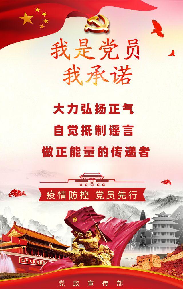 红色中国风武汉抗击防控疫情冠状肺炎我是党员我承诺党建宣传H5
