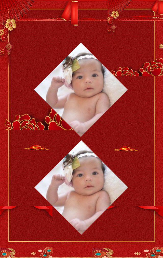 中国风红色喜庆百日宴邀请函H5