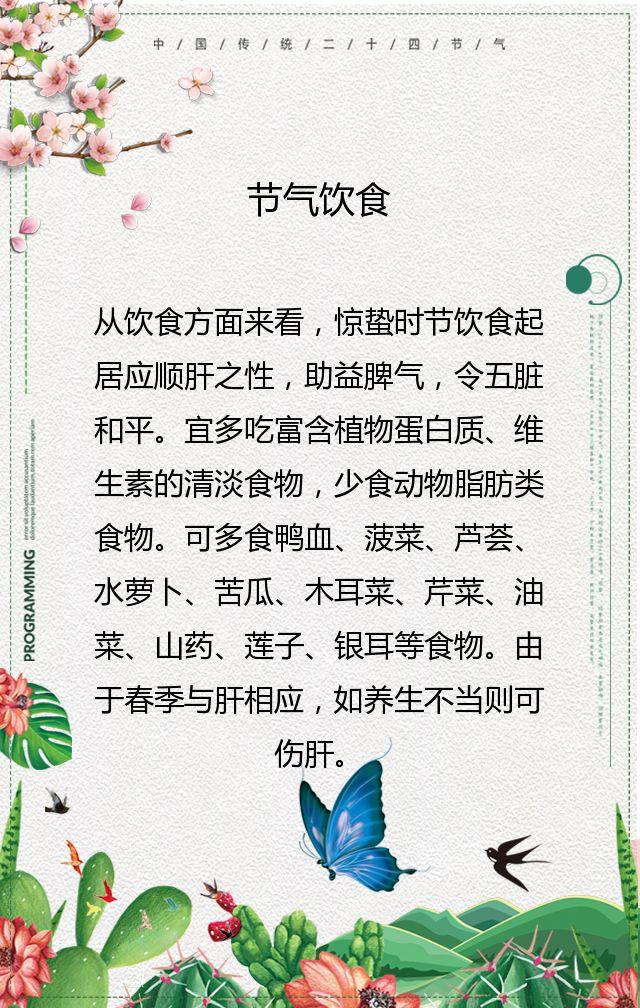 二十四节气惊蛰宣传祝福简约清新淡雅