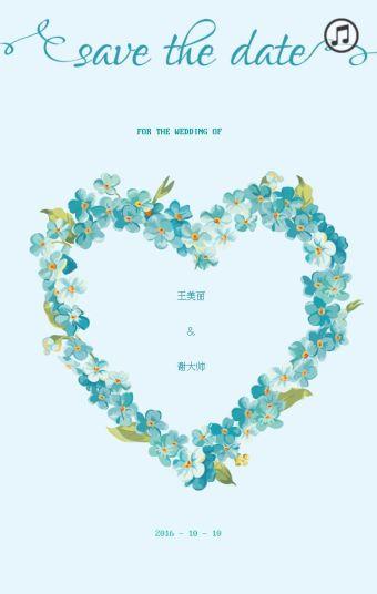 唯美花朵谢谢你婚礼邀请卡
