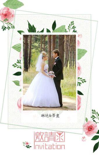 森系唯美粉色婚礼邀请函答谢宴会