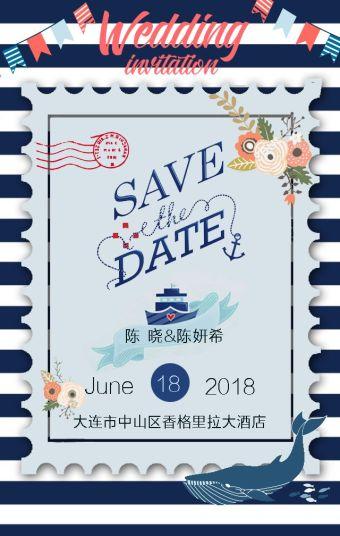 海洋风小清新婚礼邀请函