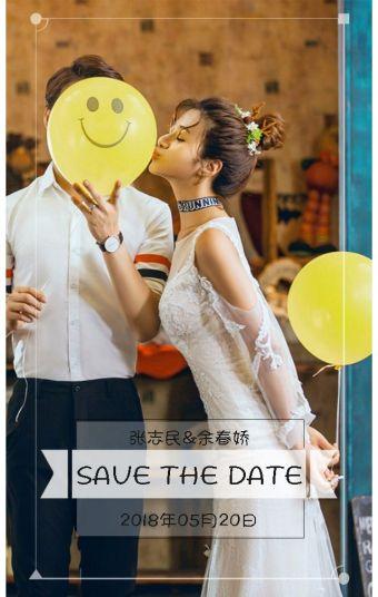 文艺、简约、时尚、杂志风婚礼邀请函、婚礼请柬、喜帖