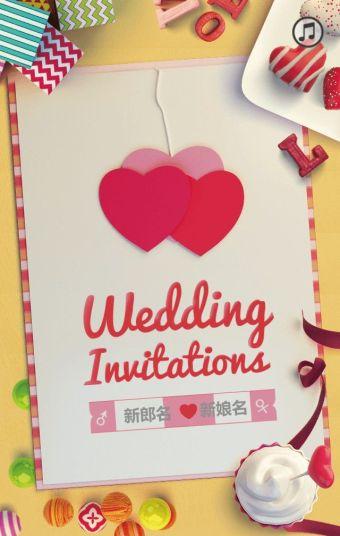 浪漫甜美婚礼邀请函模板