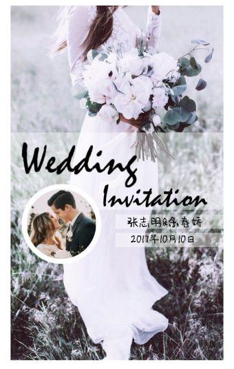 创意黑白灰时尚简约高端大气婚礼相册邀请函