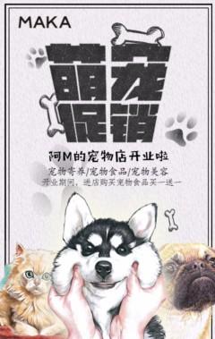 手绘风宠物店开业活动促销模板