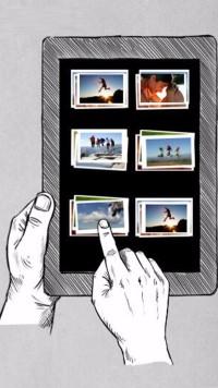 卡通手持素描平板电脑图文旅游家庭相册