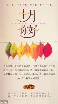 10月十月微商电商线上线下日签宣传活动海报