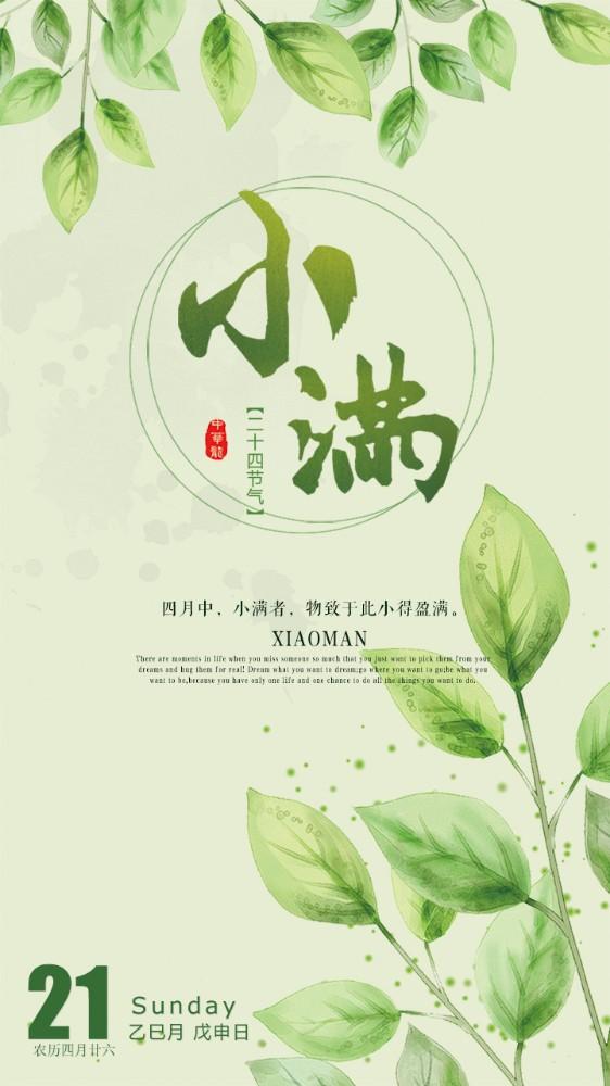 绿色清新小满节气企业宣传推广朋友圈海报