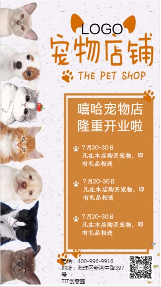 创意宠物店开业海报