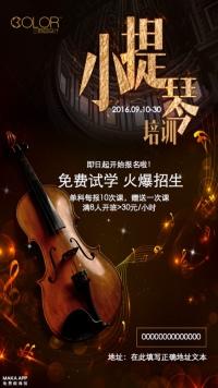 小提琴培训招生宣传海报(三颜色设计)