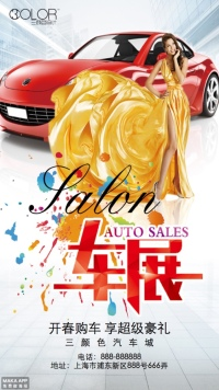 汽车展宣传通用海报(三颜色设计)