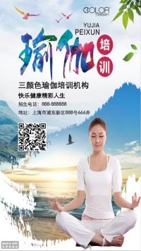 瑜伽招生培训宣传通用海报(三颜色设计)