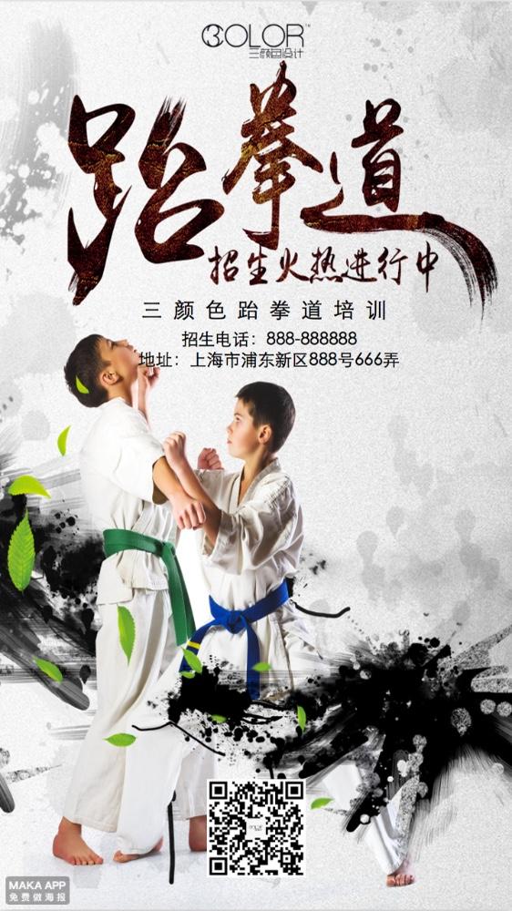 跆拳道招生培训宣传通用海报(三颜色设计)