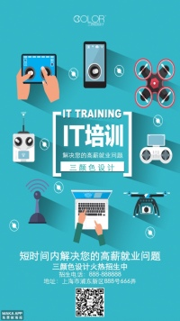 IT招生培训宣传通用海报(三颜色设计)