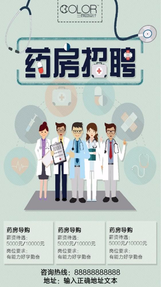 医院药房招聘海报