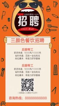 餐饮卡通手绘招聘海报