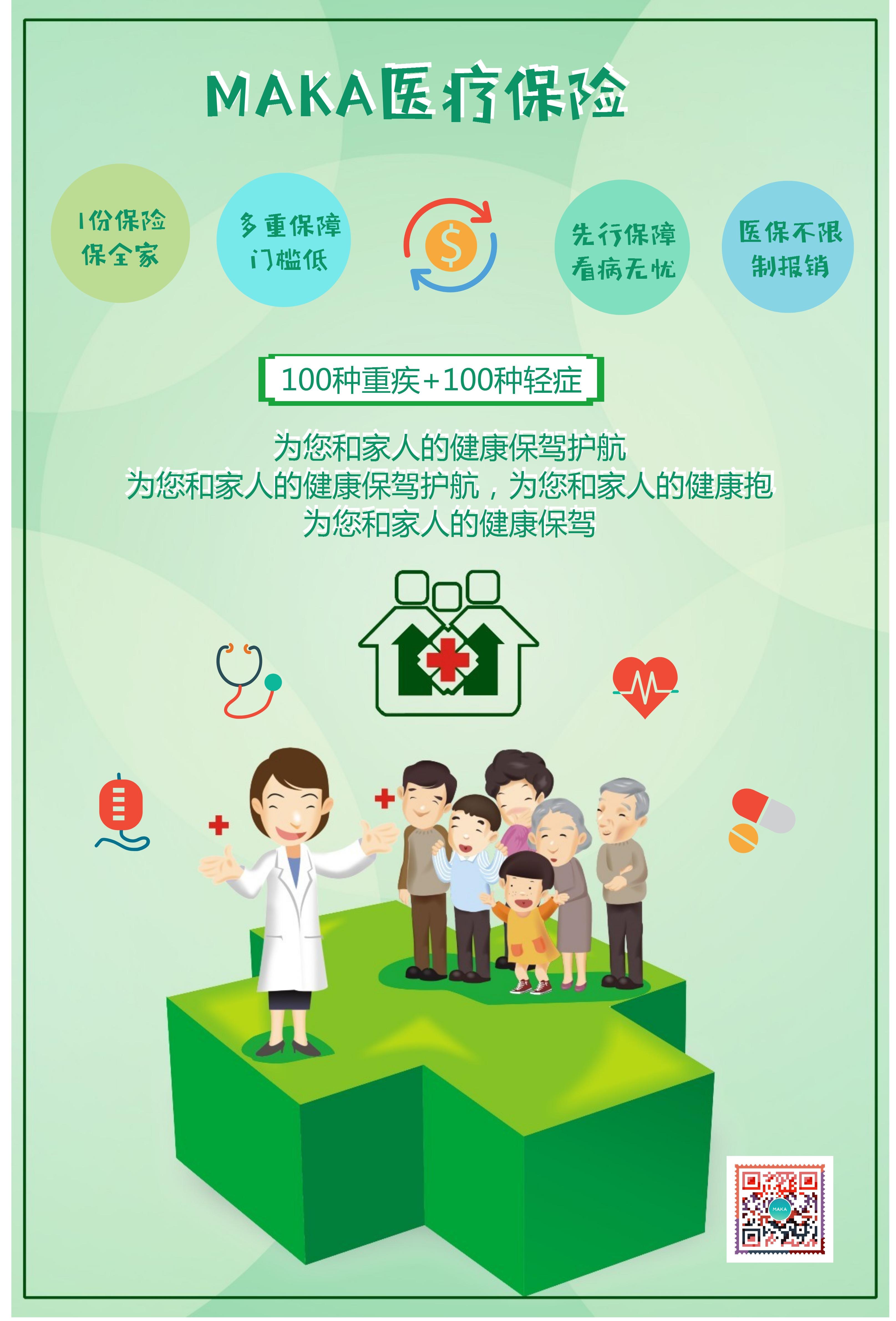 绿色健康医疗主题通用宣传海报