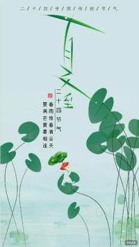 绿色调二十四节气之夏至宣传海报简约文艺风格