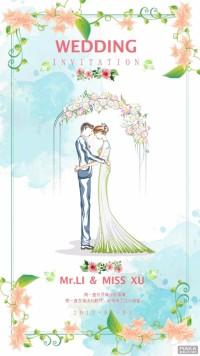唯美花边婚礼粉色浪漫卡通手绘植物请柬海报