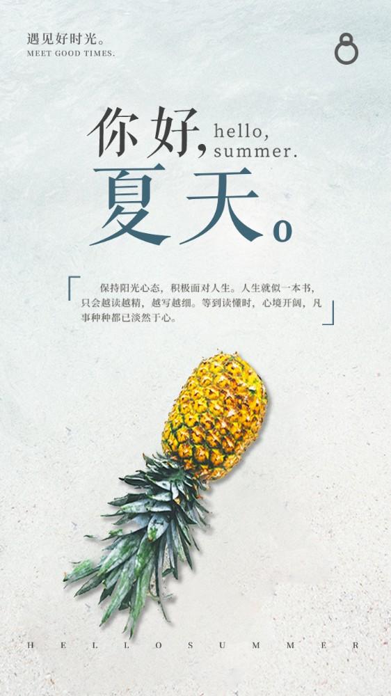 清新淡雅夏日水果菠萝海边沙滩景色个人心情海报