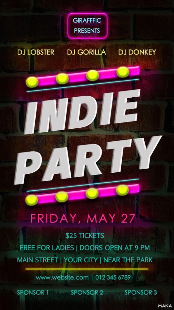 复古黑色炫彩霓虹灯酒吧夜店派对音乐会活动宣传海报