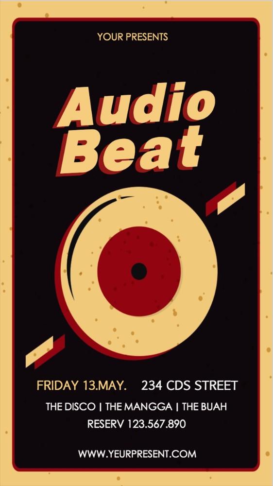复古黑胶唱片时尚派对音乐节音乐会活动宣传海报黑色