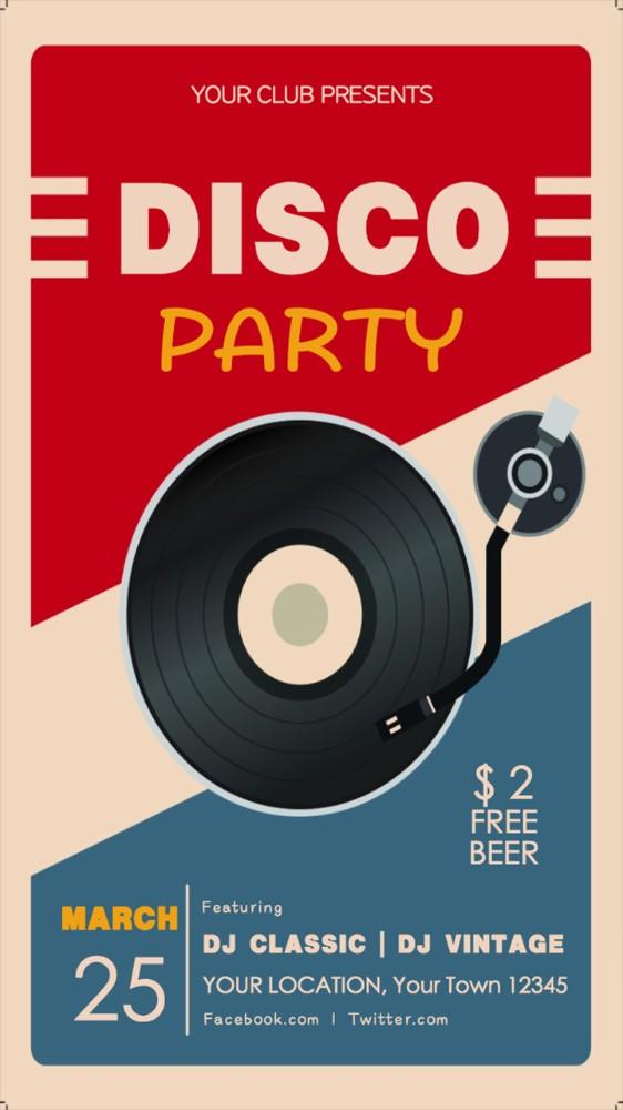 复古派对音乐节音乐会活动宣传海报