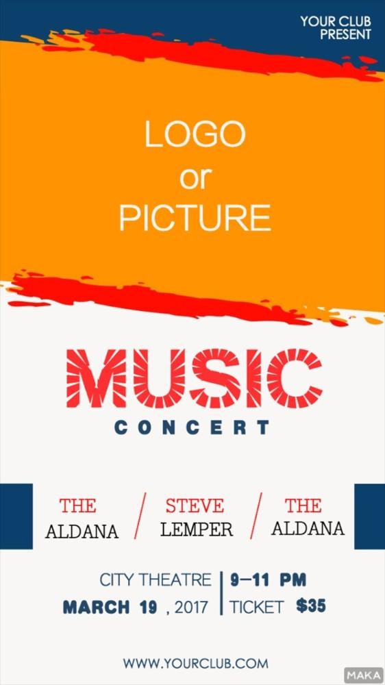 明亮橙色系简洁时尚派对酒吧夜店音乐节音乐会活动宣传海报