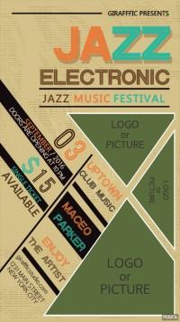 jazz爵士复古色酒吧夜店派对音乐会活动宣传海报
