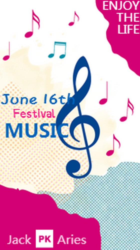 音乐节海报宣传粉红英文