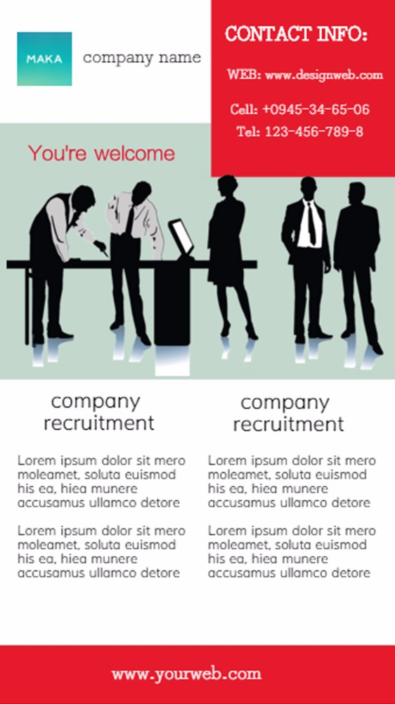 公司招聘全英简约海报红白色