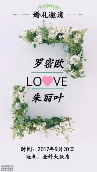 简约清新浪漫风婚礼邀请函