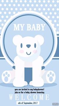 宝宝派对邀请函蓝色卡通可爱