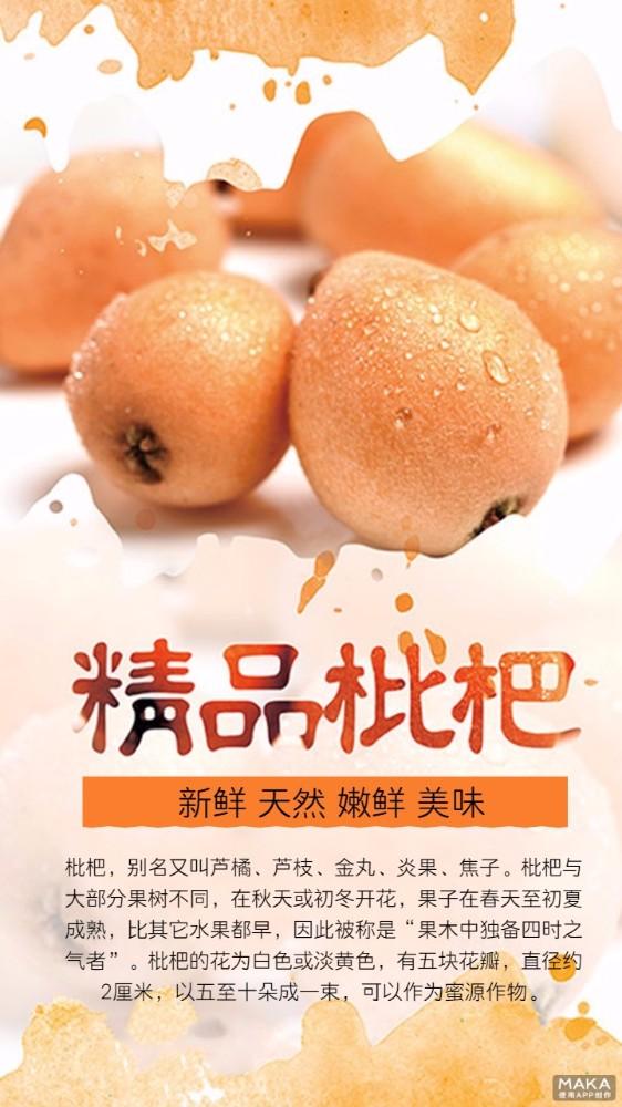 精品枇杷 简约水果海报