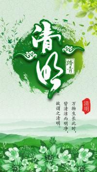 04.05清明节绿色背景节气介绍海报