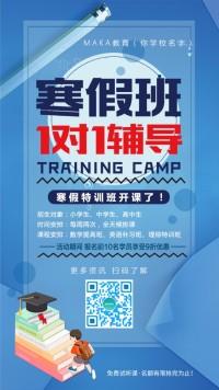 寒假教育培训班1对1辅导海报