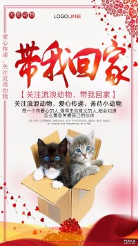 保护野生动物 带流浪动物回家公益宣传海报