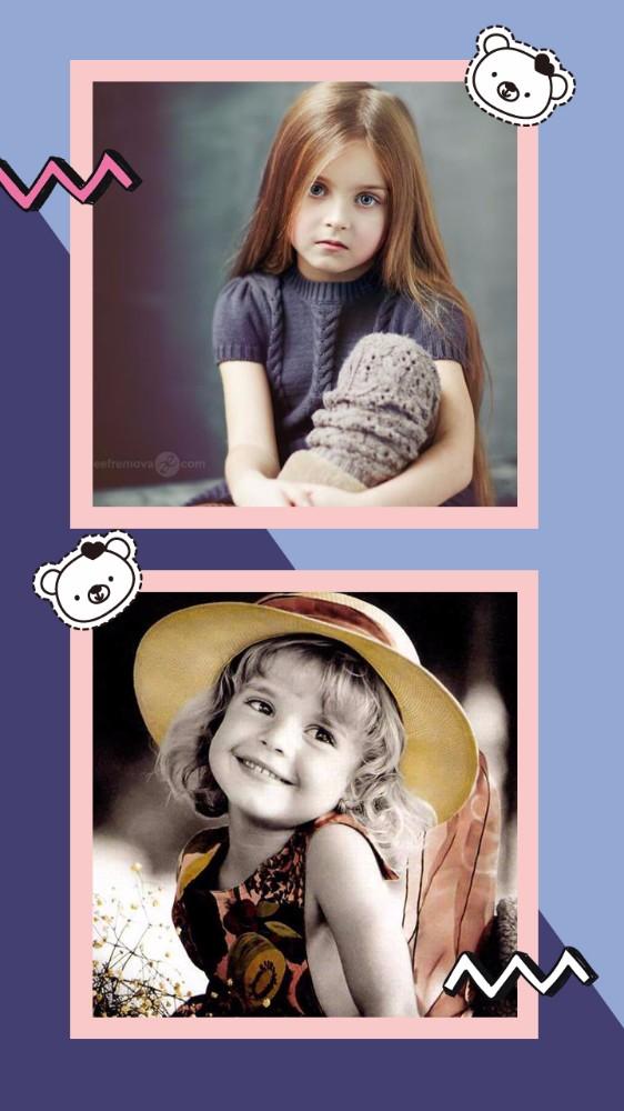 紫色涂鸦儿童生日贺卡