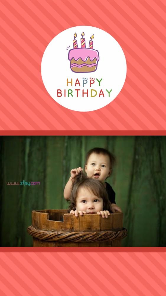 红色蛋糕生日祝福贺卡