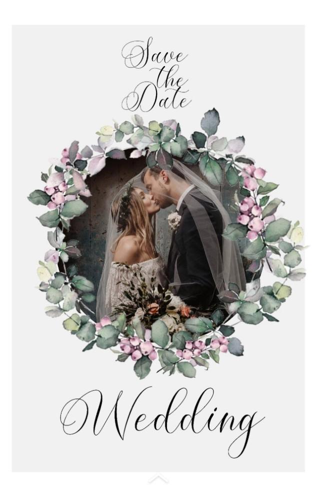 婚礼 森系简约优雅浪漫婚礼请柬 手绘花艺请帖