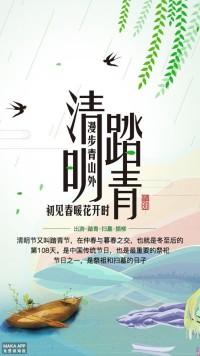 24节气清明节 清明节习俗普及 清明节海报 踏青 祭祖